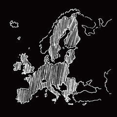 sketch black and white vector map of europe