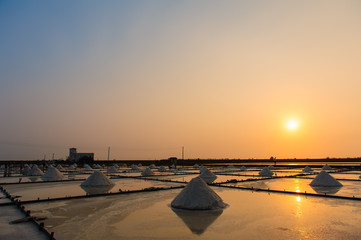 salt farm with sunset in Tainan, Taiwan