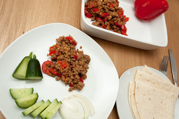 Bell pepper minced meat indian spicy cuisine