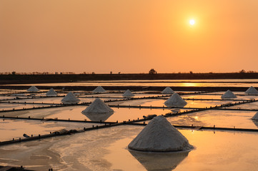 beautiful salt farm with dramatic sky in Tainan, Taiwan