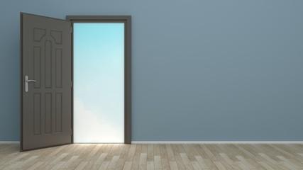 room with an open door in sky