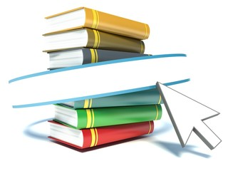 Books and mouse cursor on white background