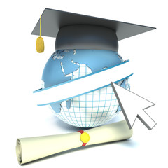 Globe, diploma and mortar board. education