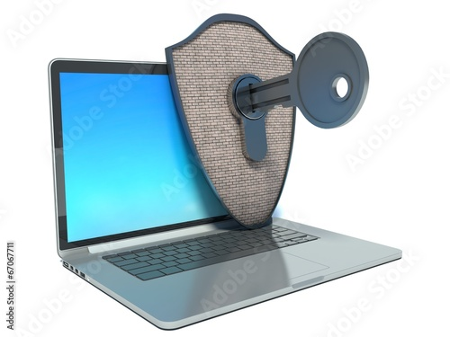 canvas print picture Hack computer protection. laptop, shield and key