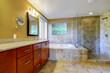 Modern bathroom inteiror with tile trim