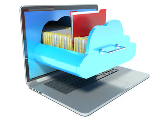 laptop and folder. cloud technology