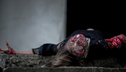 Suicide girl in abandoned building