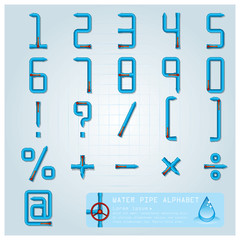 Water Pipe Alphabet Character Design Template