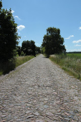Road surface of stones