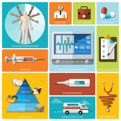 Health And Medical Flat Icon Set