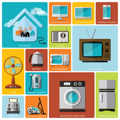 Electronic Machine And House Flat Icon Set