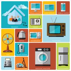 Electronic Machine And House Flat Icon Set