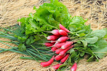 bundle of fresh radishes, lettuce,