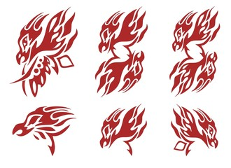 Tribal flaming phoenix head symbols. Red on the white