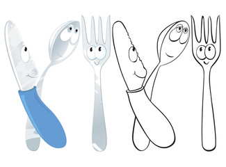 Funny knife, fork and spoon