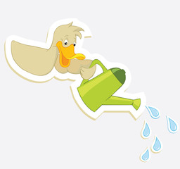 Duck and watering can