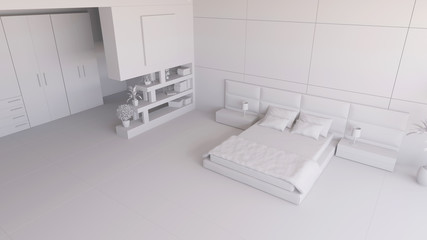 Render of a bedroom with some furniture