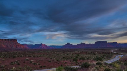 Route 128 near Moab Utah at Sunset Castle Valley, Parriot Mesa,