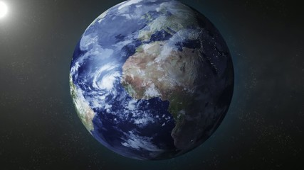 Earth animation zooms in on South Pole