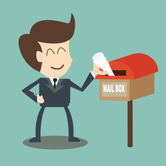 businessman receiving the mail - mailbox