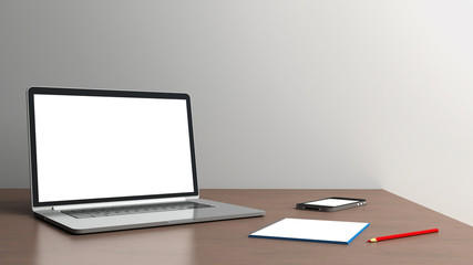 Office desk isolated on a white background