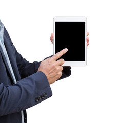 Business man presenting blank screen tablet isolated on green ba