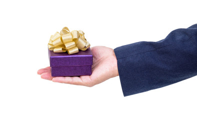 Business man hand with gift box