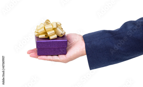 canvas print picture Business man hand with gift box