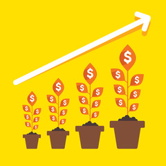 growing money plant arrange in business pillar  vector