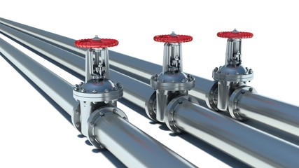 Steel pipeline with red valve