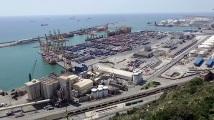 Industrial port of Barcelona in daytime. Spain