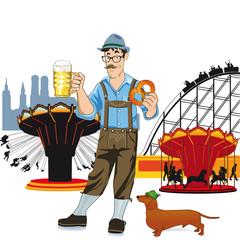 Bayerischen Mann mit Bier auf Oktoberfest