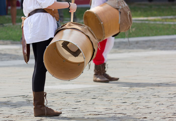 Close-up of two Drummers during a Reenactment