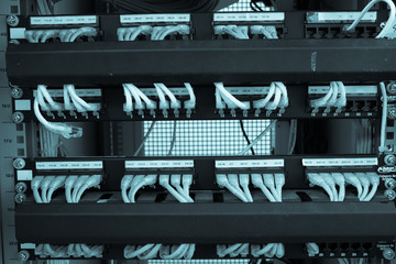 Rack Server Internet Connected with LAN cables.