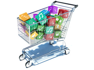 illustration of shopping cart with media boxes.