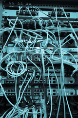 Rack Main Server Internet Connected with Cluttered LAN cables.
