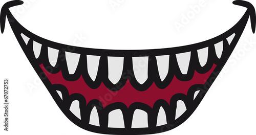 canvas print picture Hässlicher grinsender lachender Monster Mund