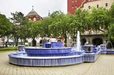 Fountain in front of the town hall in Subotica. Serbia