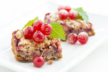 berry tart with fresh redcurrants and mint