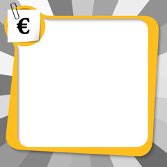yellow text box with paper clip and euro symbol