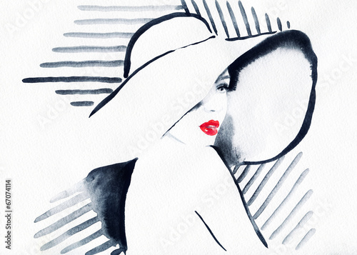 Papiers peints Portrait Aquarelle abstract watercolor .woman portrait