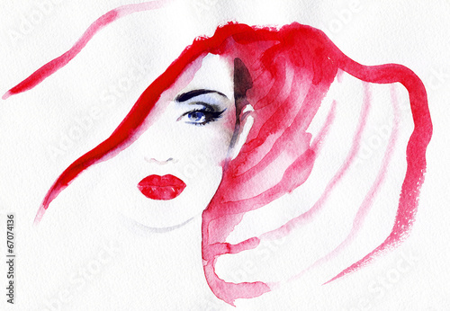 Fotobehang Aquarel Gezicht abstract watercolor .woman portrait