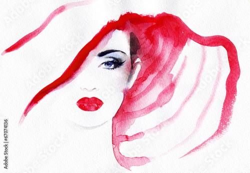 Foto op Plexiglas Aquarel Gezicht abstract watercolor .woman portrait