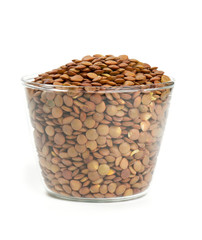 brown lentils in a glass bowl