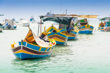 Traditional fishing boat (luzzu) in Marsaxlokk, a fishing villag