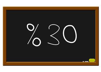 %30 indirim yazı tahtasında