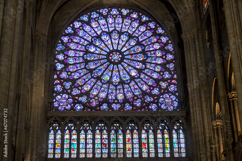 canvas print picture Interior of Cathedral Notre Dame - Paris.
