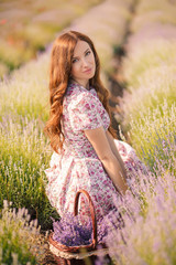 Beautiful girl on the lavender field.