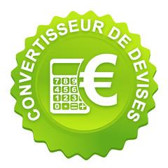 convertisseur de devises sur bouton web denté vert
