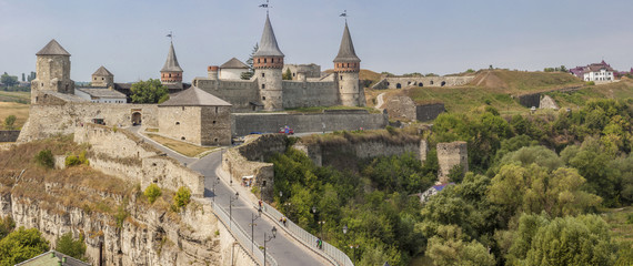 Panorama of old castle in  Kamianets Podilskyi, Ukraine, Europe.